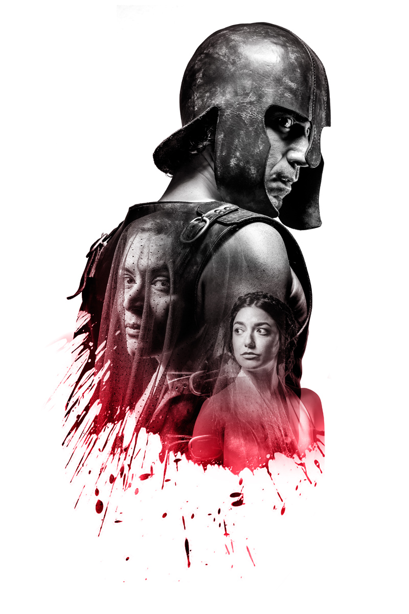 Poster for The Iliad at Lyceum Theatre by Homer. Ben Turner as Achillies, Helen by Ameira Darwish and Thetis by Melody Grove