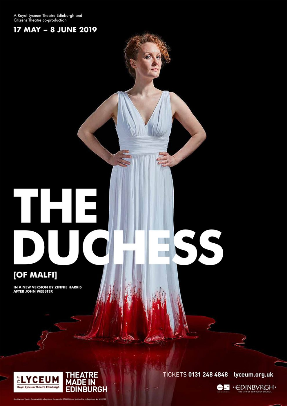 the final poster for The Duchess of Malfi at the Lyceum theatre Edinburgh